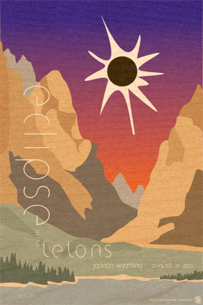Eclipse in the Tetons - Woodprint