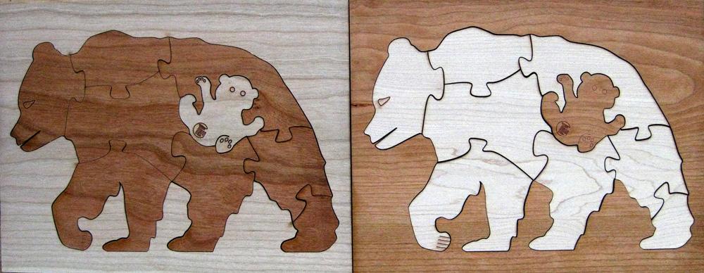 Bear Duotone Hardwood Wildlife Puzzle