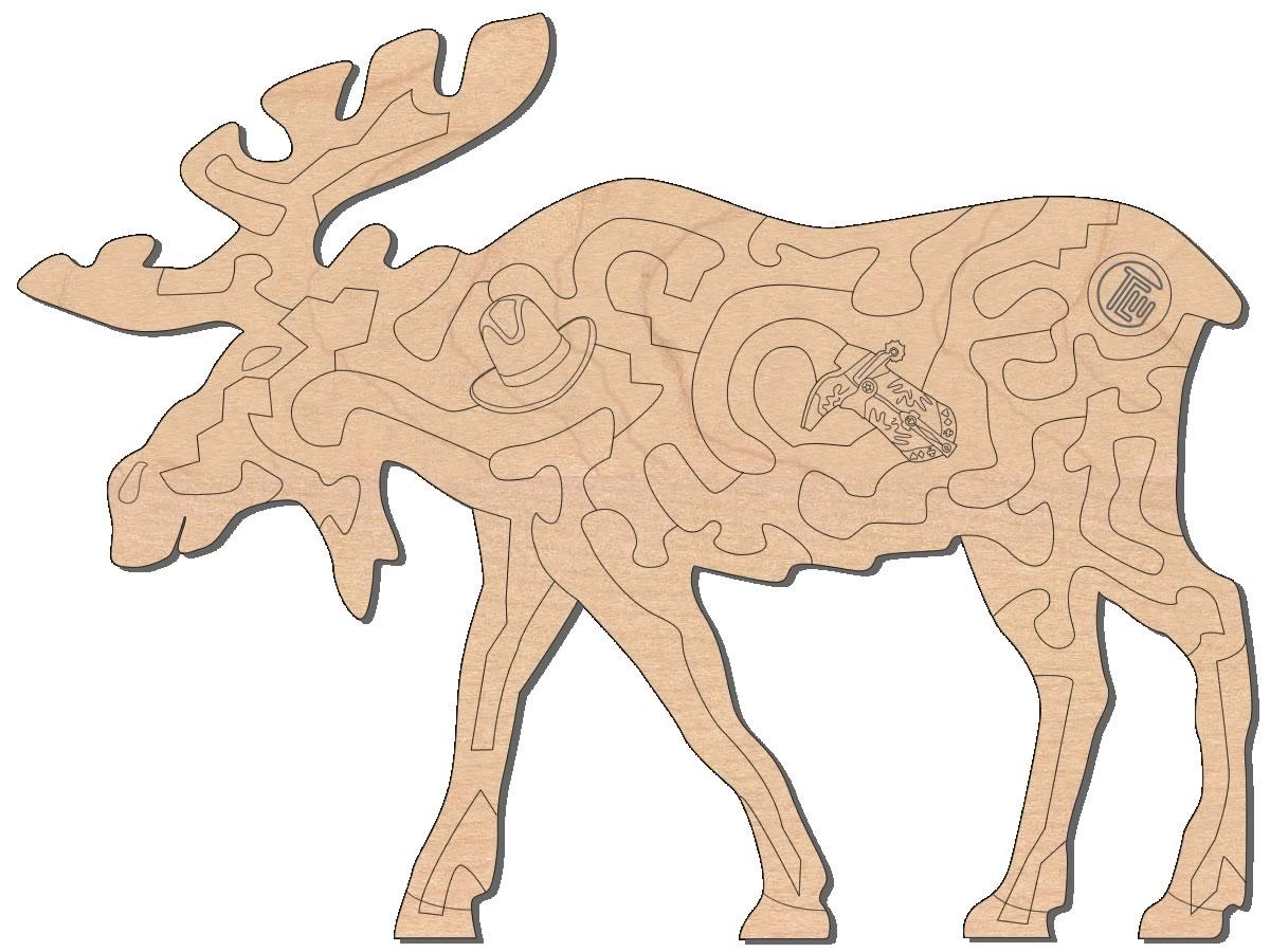 Hardwood Wildlife Moose Insanity Puzzle