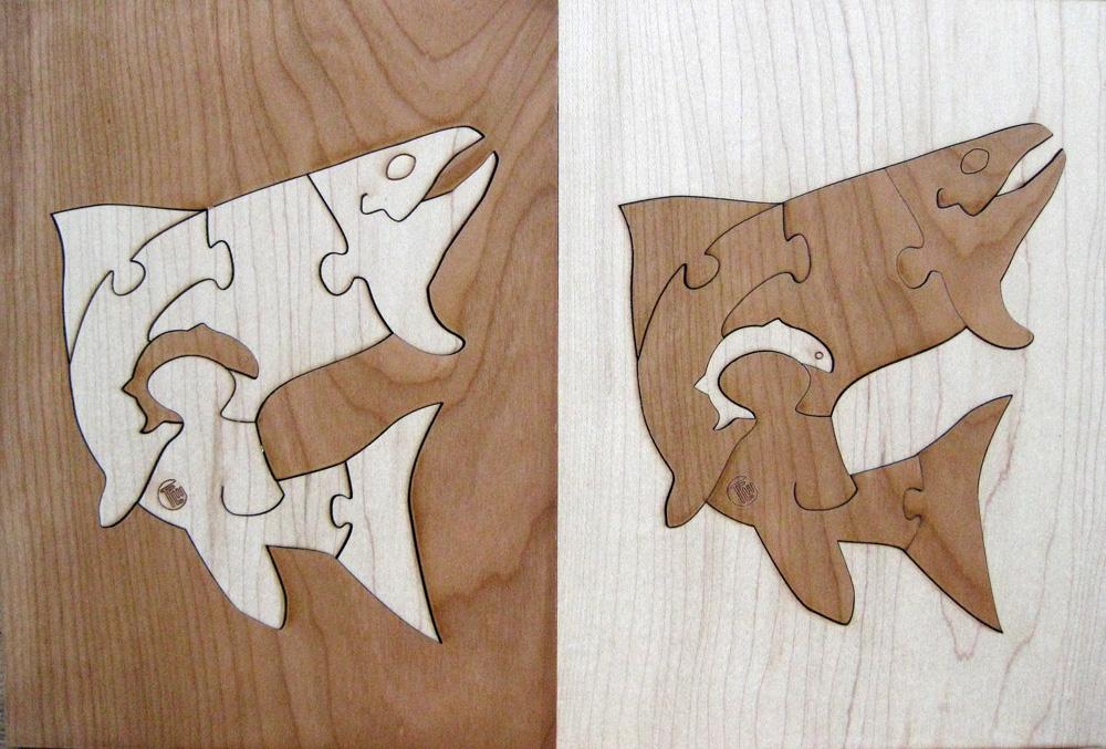 Duotone Trout Hardwood Wildlife Puzzle