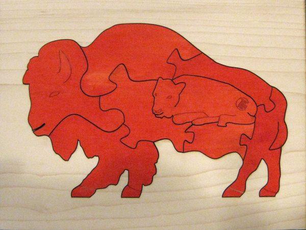 Bison Wildlife Hardwood Puzzle - Red