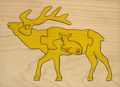 Elk Wildlife Hardwood Puzzle - Yellow