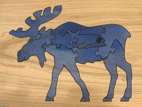 Moose Wildlife Hardwood Puzzle - Blue