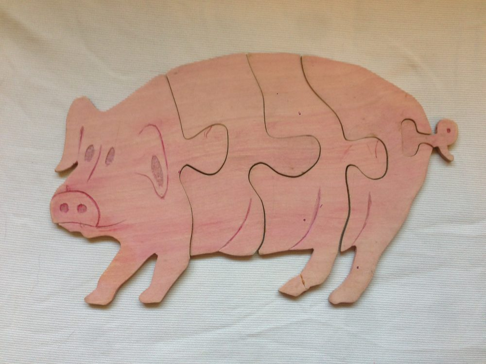 Pig (Baltic Birch) acrylic stained