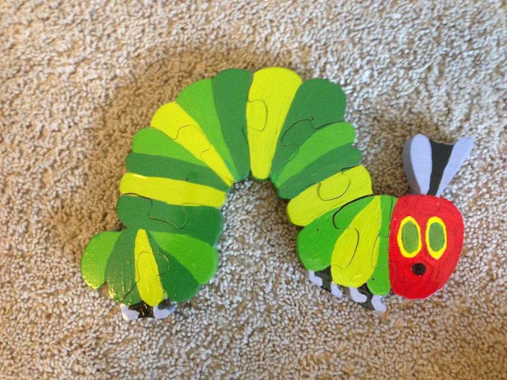 "Hungry, Hungry Caterpillar (3/4"" Pine) lacquer coated acrylic"
