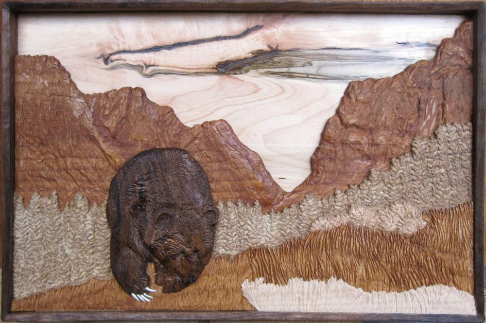Grizzly Bear in Death Canyon in layered hardwood relief sculpted by Francis