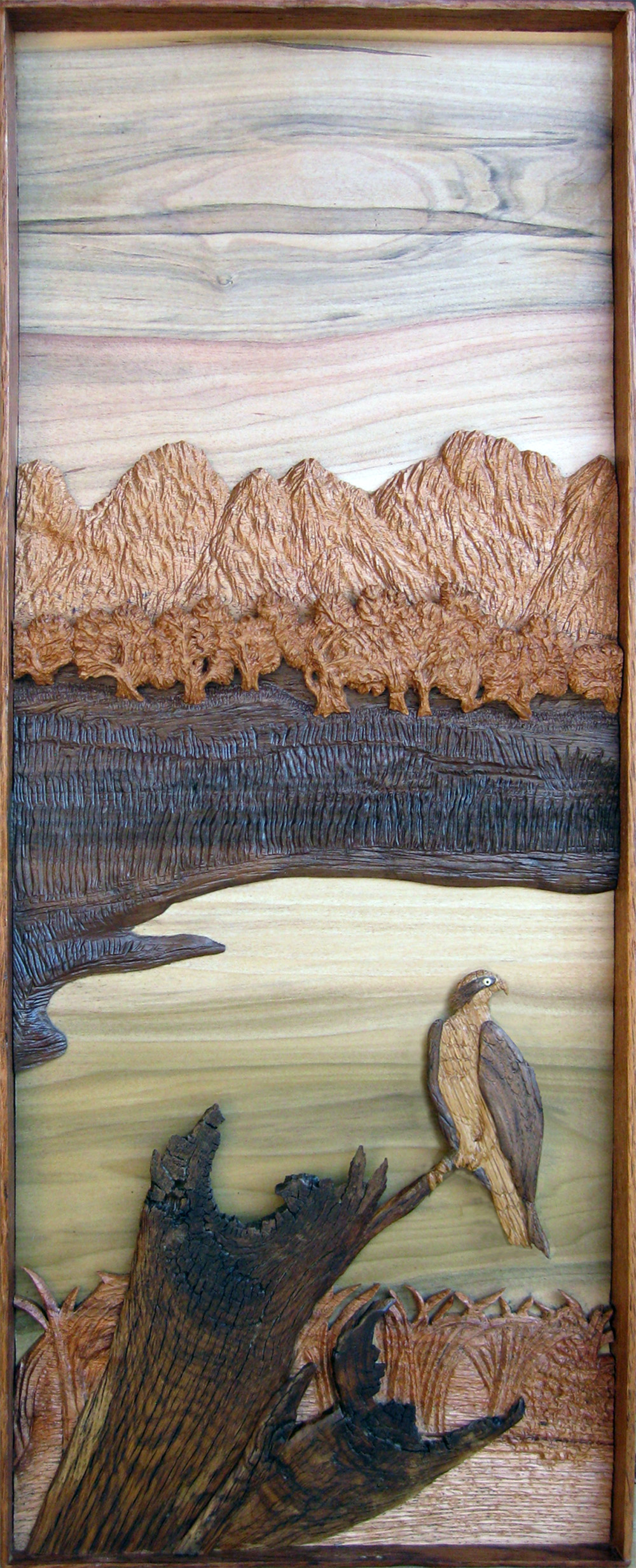 Osprey in layered hardwood relief sculpted by Francis Koerber