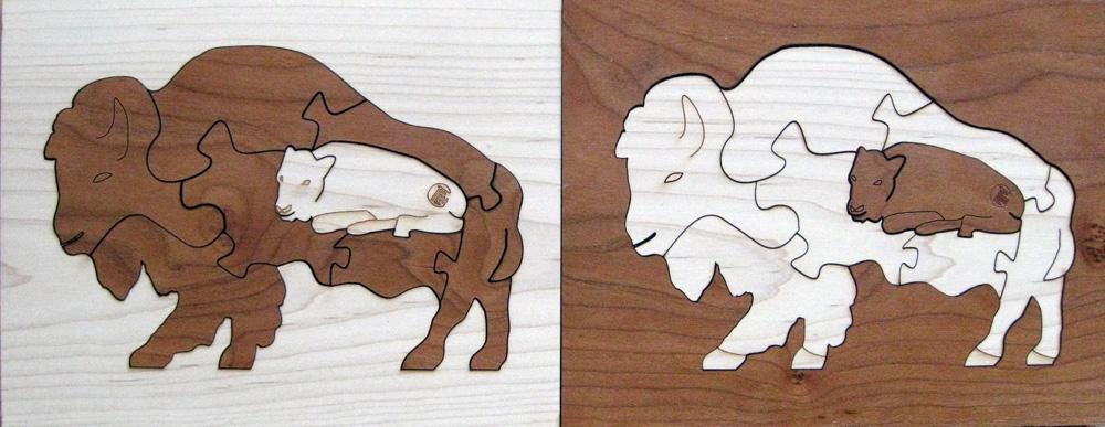 Bison Duotone Hardwood Wildlife Puzzle