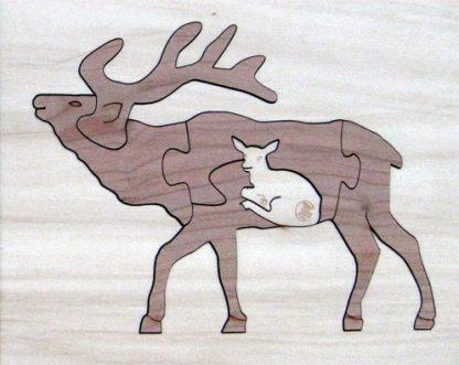 Elk Duotone Hardwood Wildlife Puzzle
