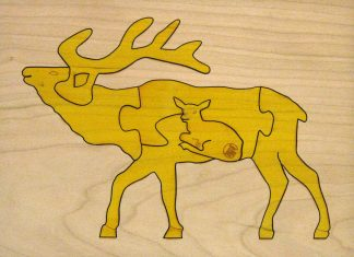 Elk Wildlife Hardwood Puzzle - Yellow