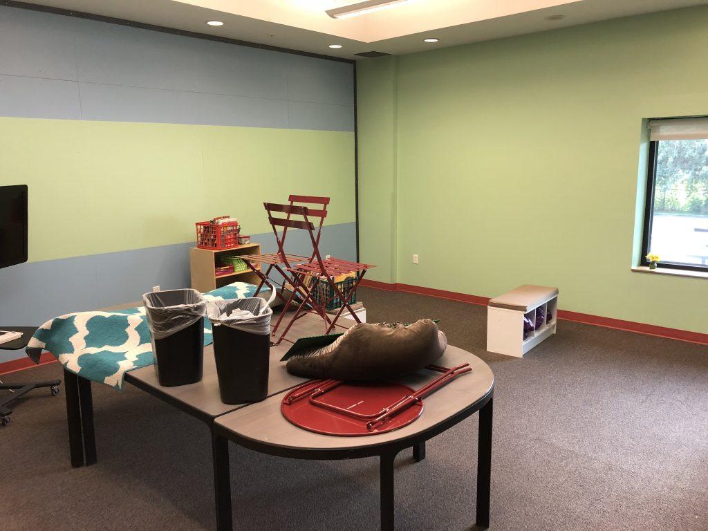 Classroom 1 - Blue and Light Green Corkboard Wall